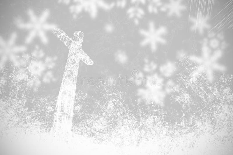 Fiocchi di neve e luce in bianco e nero del fondo di Natale royalty illustrazione gratis