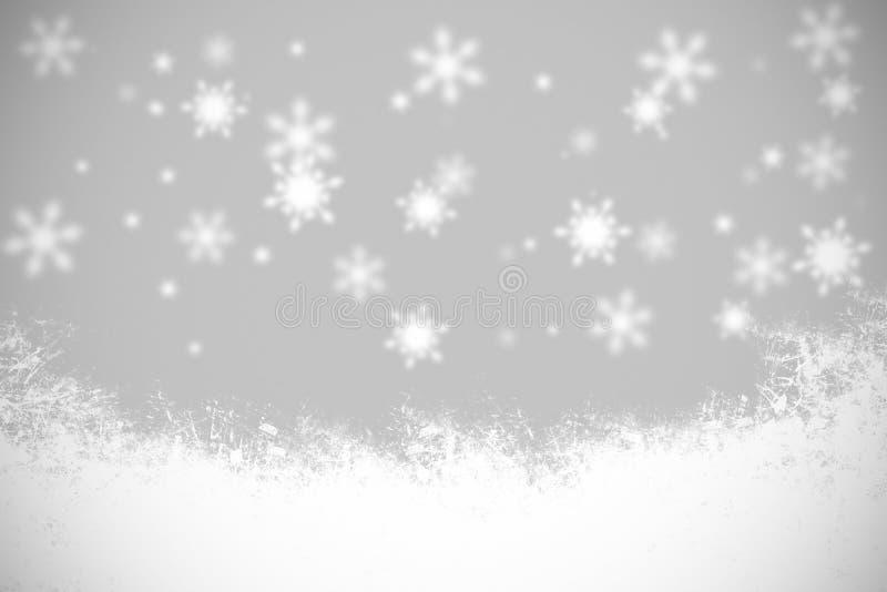 Fiocchi di neve e luce in bianco e nero del fondo di Natale illustrazione di stock