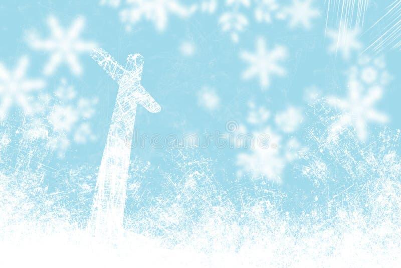 Fiocchi di neve e luce blu del fondo di Natale illustrazione di stock