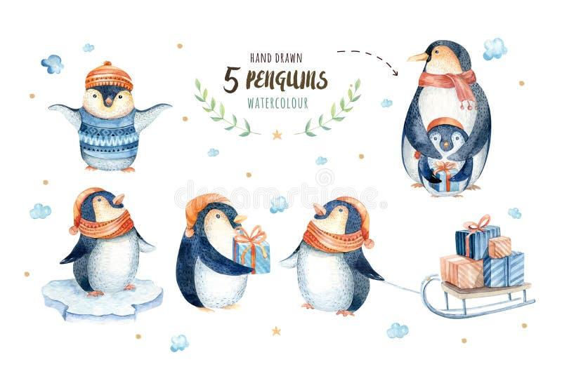 Fiocchi di neve e pinguini di Buon Natale Illustrazione disegnata a mano illustrazione di stock