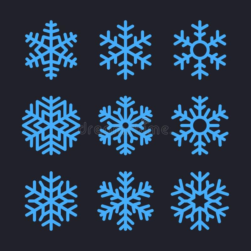 Fiocchi di neve messi per progettazione di inverno di natale Vettore royalty illustrazione gratis