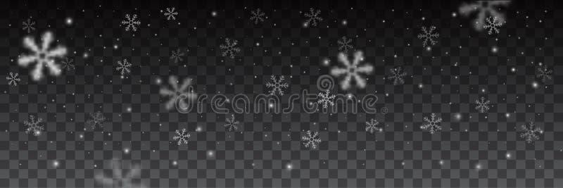 Fiocchi di neve nel fondo differente di forme royalty illustrazione gratis