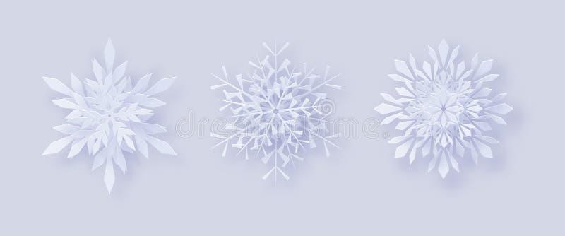 Fiocchi di neve di Origami fiocchi di neve 3D con un'ombra per la vostra progettazione delle cartoline d'auguri per il nuovo anno illustrazione di stock