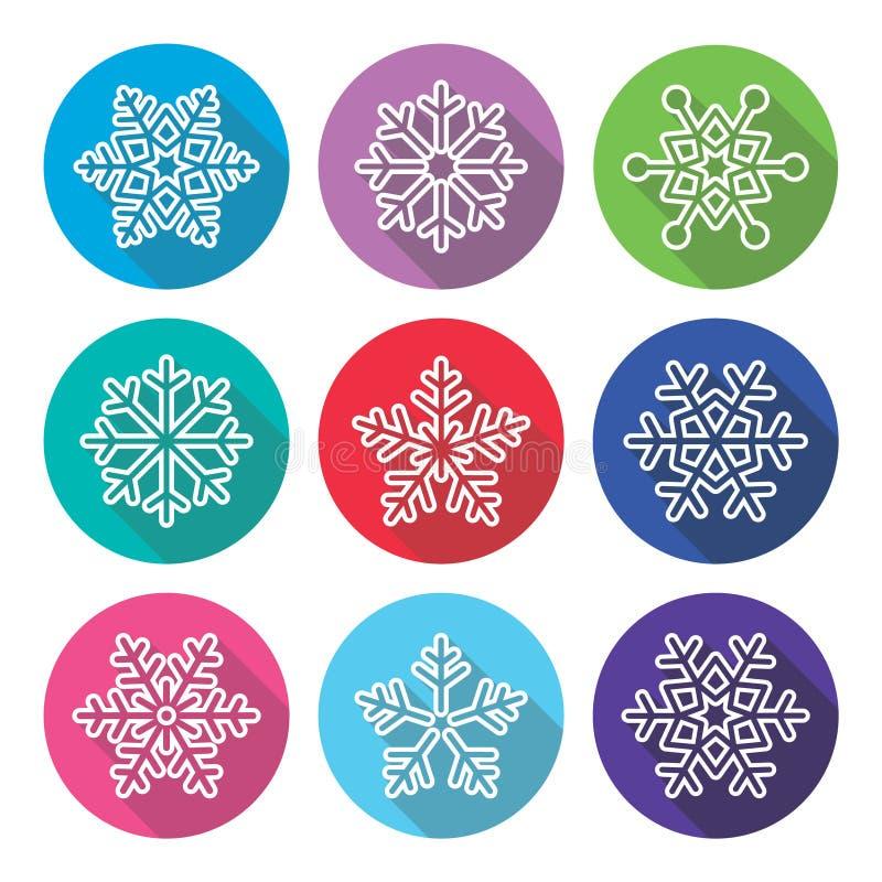 Fiocchi di neve, progettazione piana di inverno, icone lunghe dell'ombra messe illustrazione vettoriale