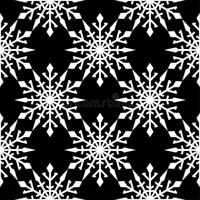 Fiocchi di neve Reticolo senza giunte Ornamento in bianco e nero di inverno illustrazione di stock
