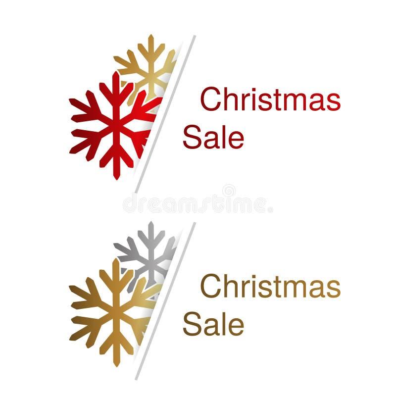 Fiocchi di neve rossi, dorati e d'argento con l'etichetta per la pubblicità del testo sui precedenti bianchi, autoadesivi di Nata illustrazione di stock