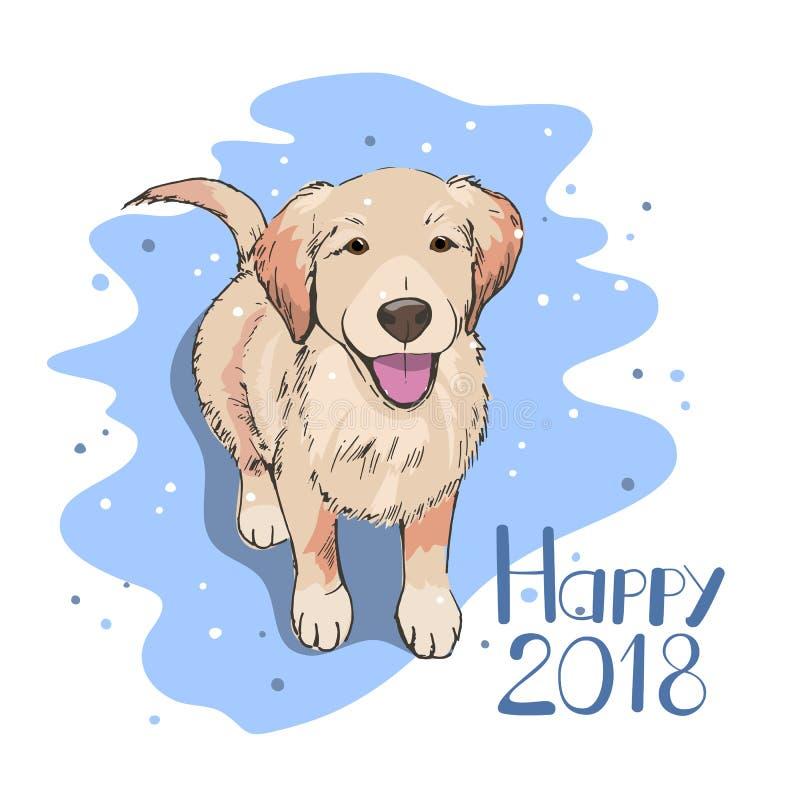 Fiocchi di neve di sorveglianza del cane Un nuovo concetto felice di 2018 anni Carta di stagione invernale, insegna, aletta di fi royalty illustrazione gratis