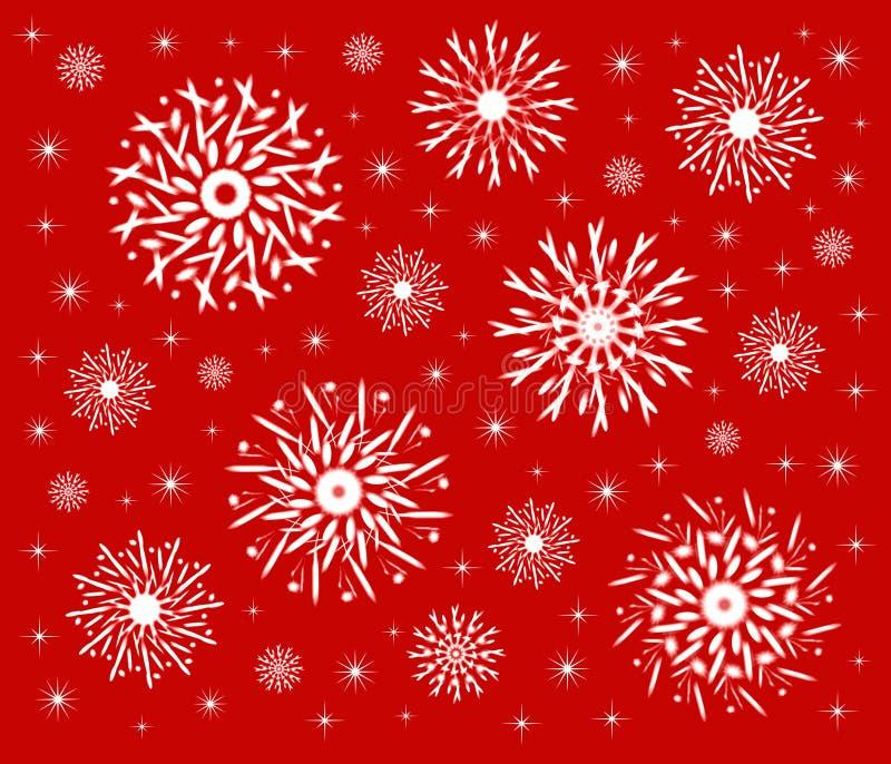 Fiocchi di neve su colore rosso royalty illustrazione gratis