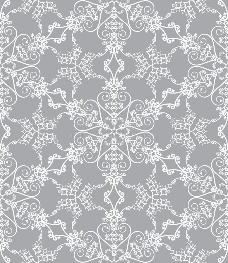 Fiocchi di neve su priorità bassa d'argento illustrazione vettoriale