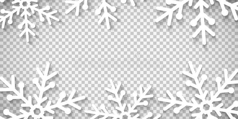 Fiocchi di neve tagliati di carta isolata su fondo trasparente Buon Natale e buon anno Modello per il vostro disegno Vect illustrazione di stock