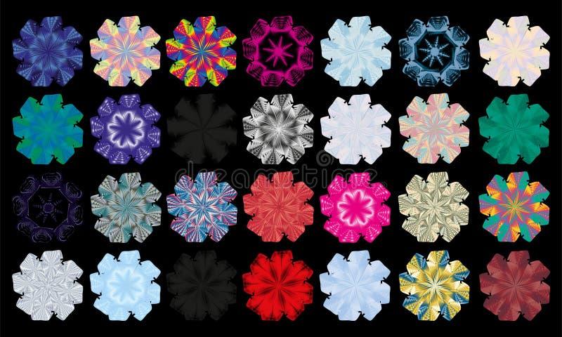 Fiocchi di neve variopinti pacchetto, progettazione dell'arcobaleno di vettore fotografie stock libere da diritti