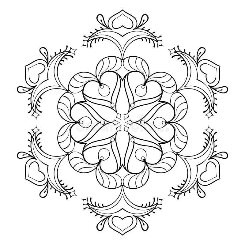 Fiocco della neve dello zentangle di vettore, mandala elegante per coloritura adulta illustrazione di stock