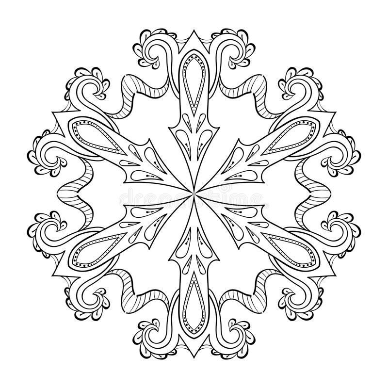 Fiocco della neve dello zentangle di vettore, mandala per le pagine adulte di coloritura O illustrazione vettoriale