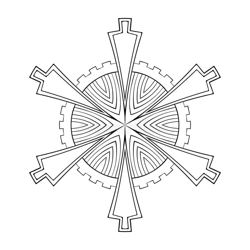 Fiocco di carta della neve del ritaglio di vettore nello stile geometrico dello zentangle, doo royalty illustrazione gratis
