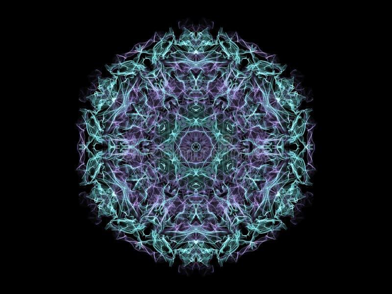 Fiocco di neve astratto blu e viola della mandala della fiamma, rou ornamentale illustrazione vettoriale