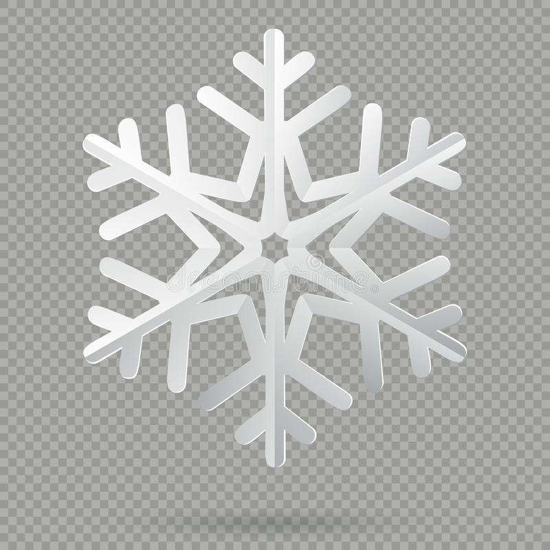 Fiocco di neve di carta piegato realistico bianco di Natale con ombra isolata su fondo trasparente ENV 10 illustrazione di stock