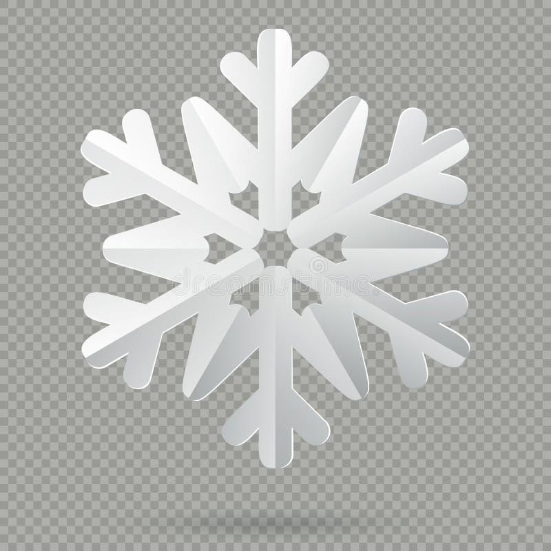 Fiocco di neve di carta piegato realistico bianco di Natale con ombra isolata su fondo trasparente ENV 10 illustrazione vettoriale