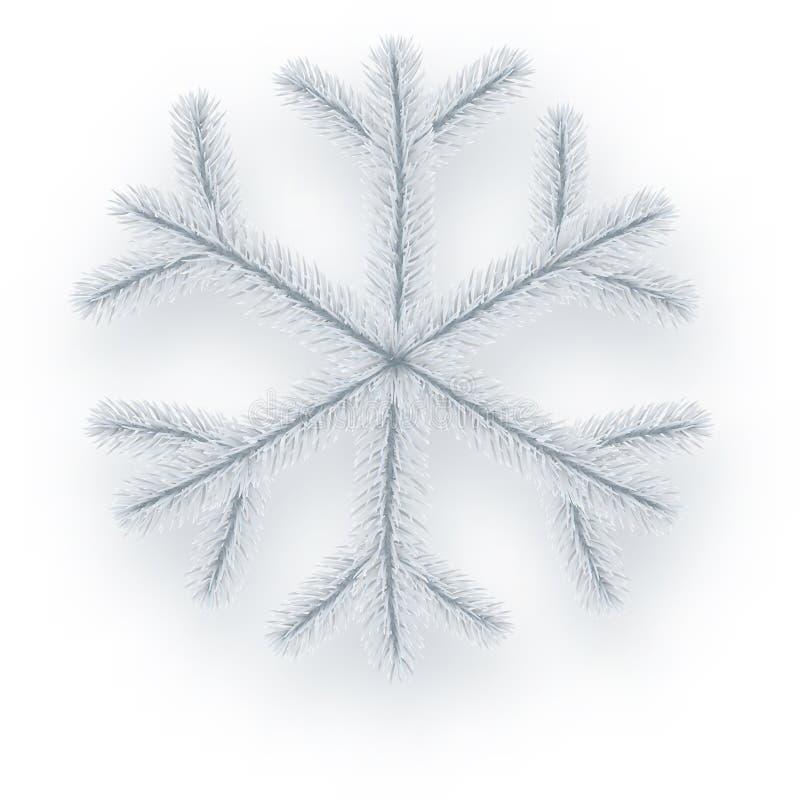 Fiocco di neve conifero isolato bianco royalty illustrazione gratis