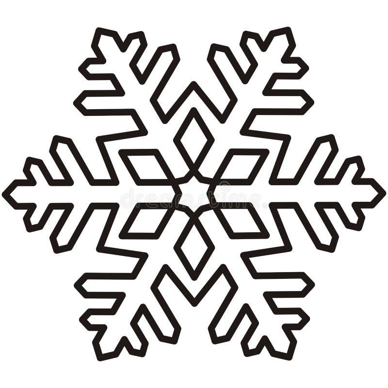 Fiocco di neve contorno illustrazione vettoriale - Fiocco di neve da colorare foglio da colorare ...