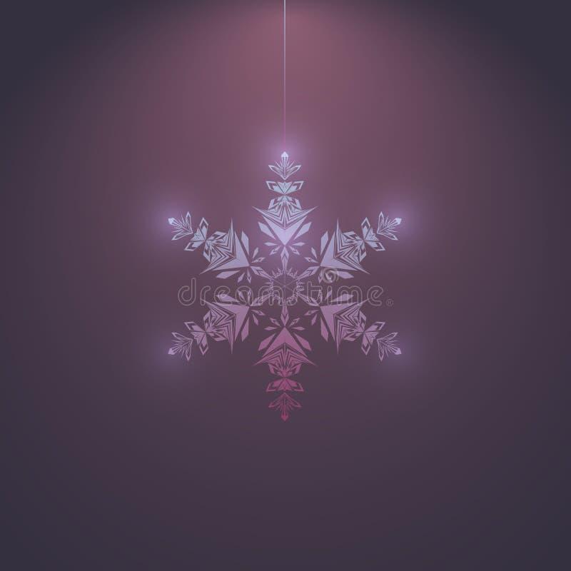 Fiocco di neve d'ardore su un fondo scuro, vettore illustrazione vettoriale
