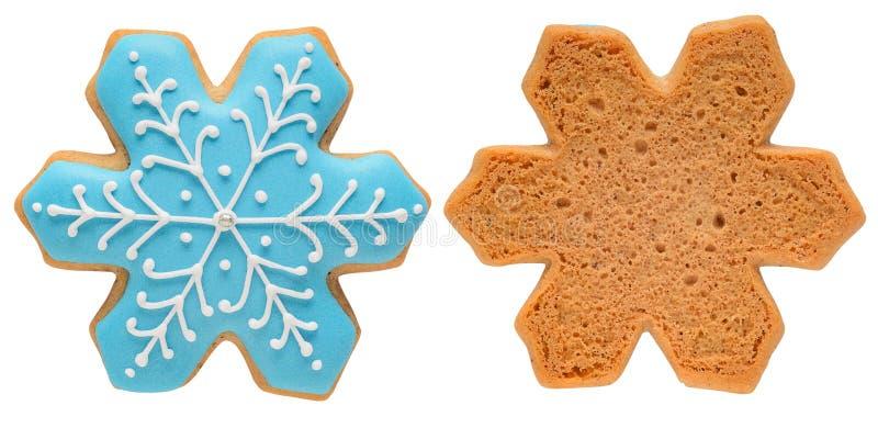 Fiocco di neve del pan di zenzero isolato su fondo bianco immagini stock libere da diritti