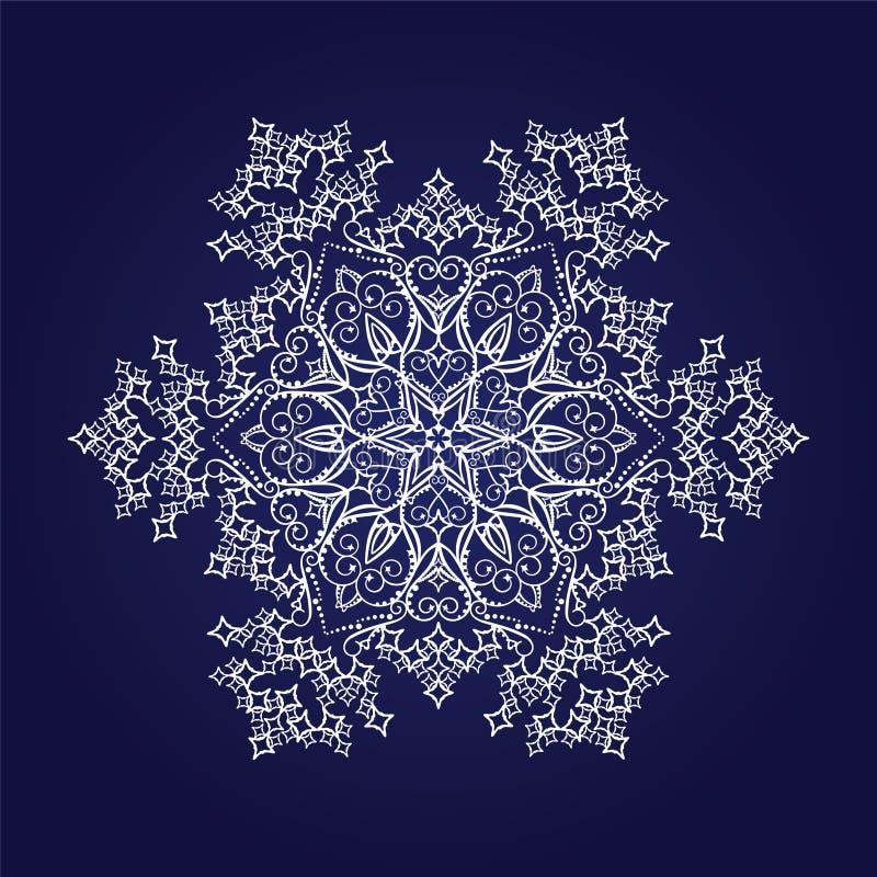 Fiocco di neve dettagliato su priorità bassa blu scuro illustrazione vettoriale