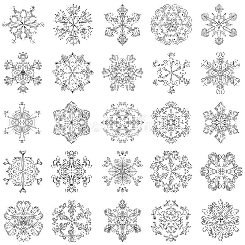 Fiocco di neve di vettore messo nello stile dello zentangle 25 fiocchi della neve di originale illustrazione vettoriale