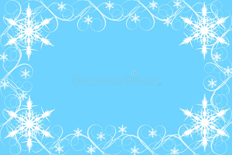 Fiocco di neve e bordo di turbinio su priorità bassa blu immagini stock
