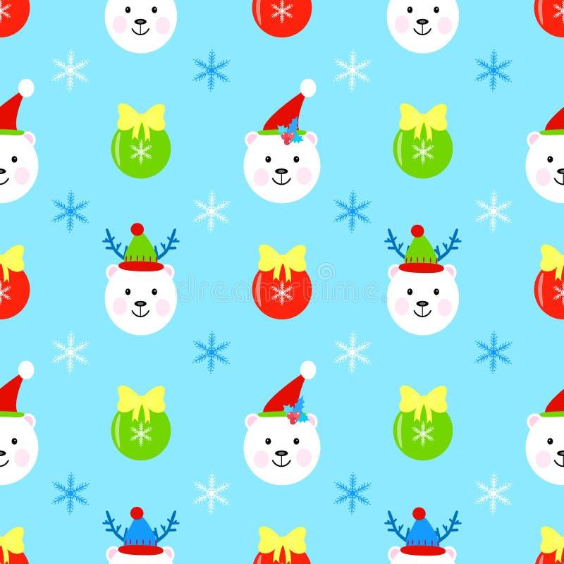 Fiocco di neve senza cuciture del modello di natale dell'orsacchiotto, giocattolo di natale royalty illustrazione gratis