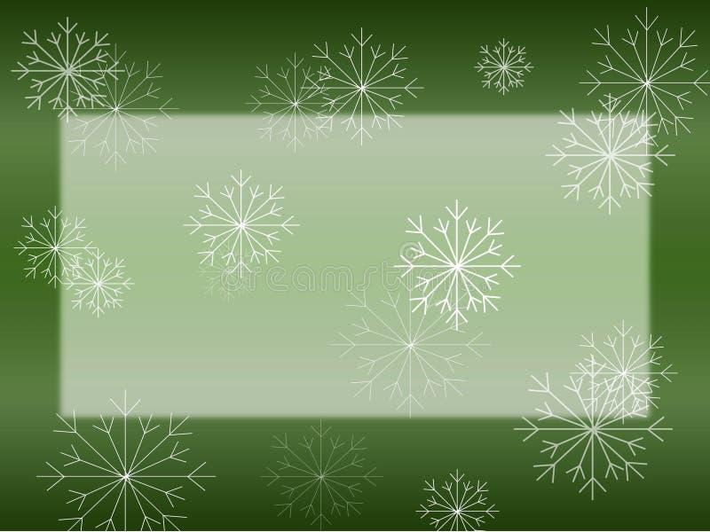 Fiocco di neve sulla scheda verde illustrazione di stock