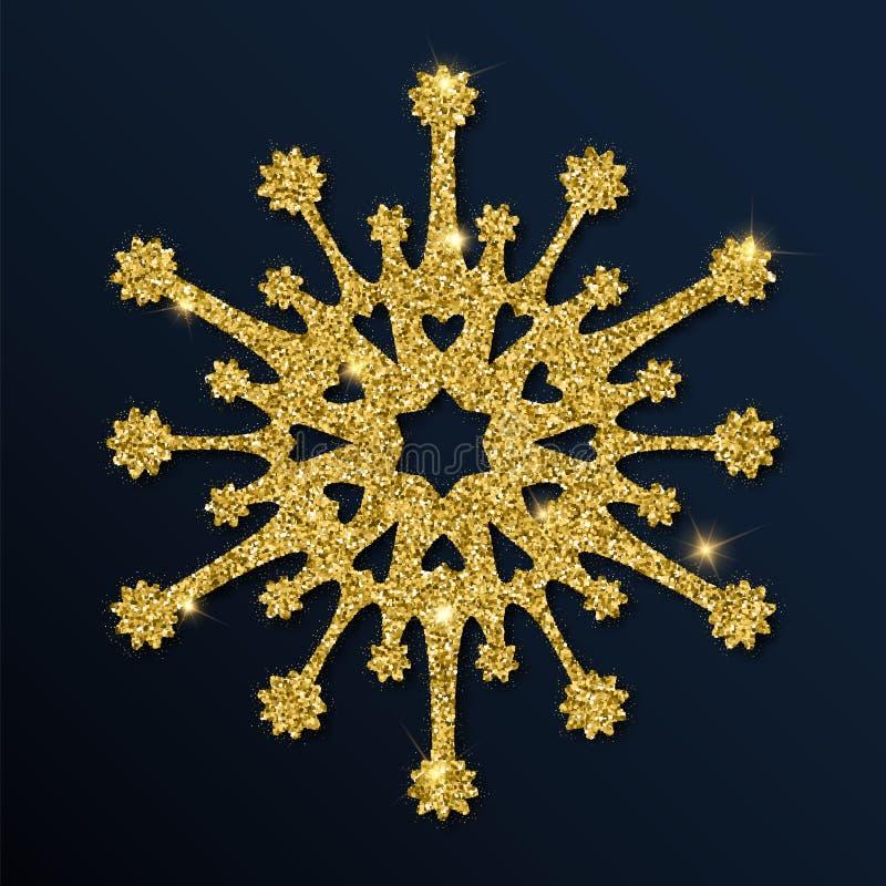 Fiocco di neve unico di scintillio dorato royalty illustrazione gratis