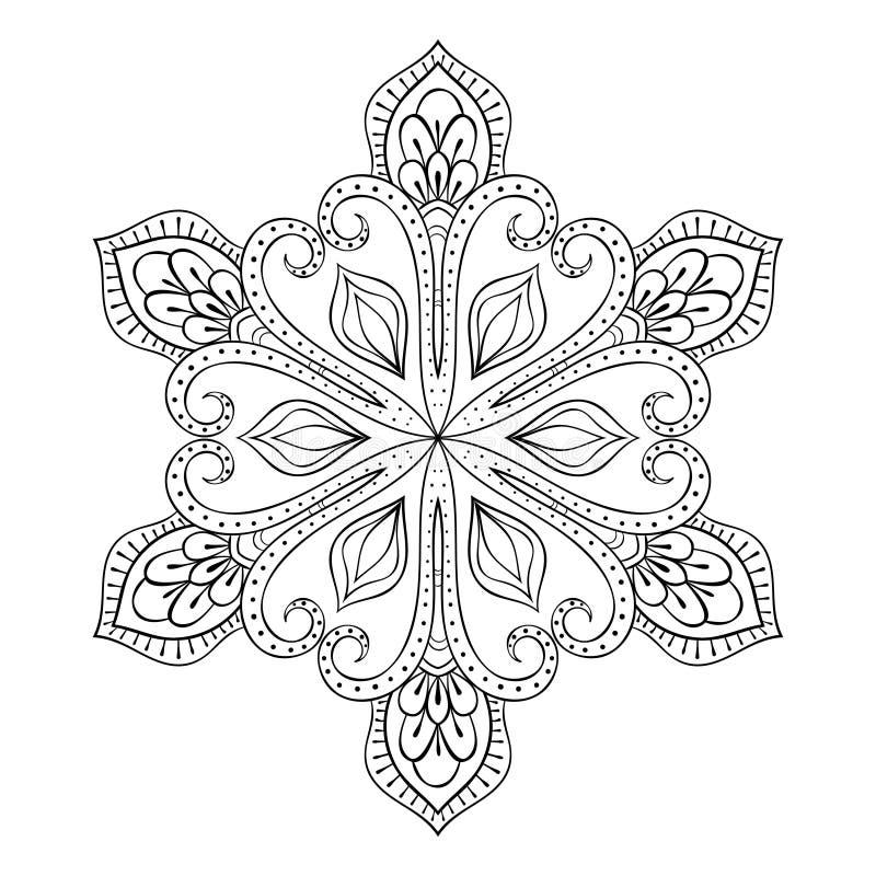 Fiocco nello stile dello zentangle, mandala della neve di vettore di scarabocchio per l'adulto c illustrazione vettoriale