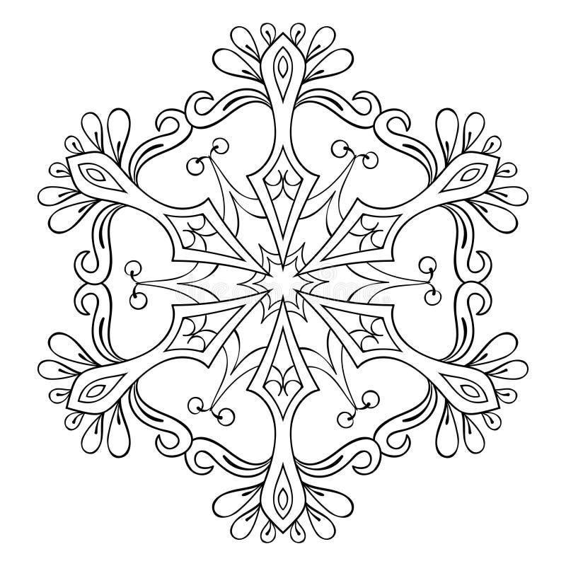 Fiocco nello stile dello zentangle, mandala della neve di vettore per coloritura adulta illustrazione vettoriale
