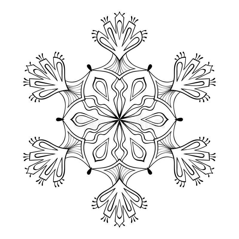 Fiocco nello stile di scarabocchio dello zentangle, mandala della neve di vettore per l'adulto c illustrazione di stock