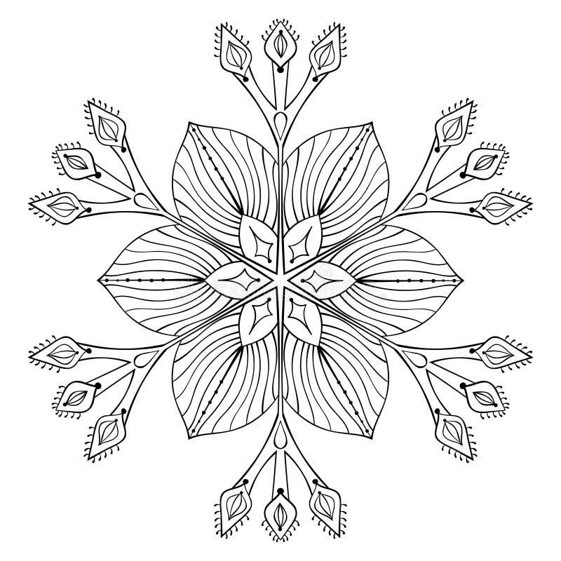Fiocco nello stile di scarabocchio dello zentangle, mandala nera della neve di vettore per la a illustrazione vettoriale