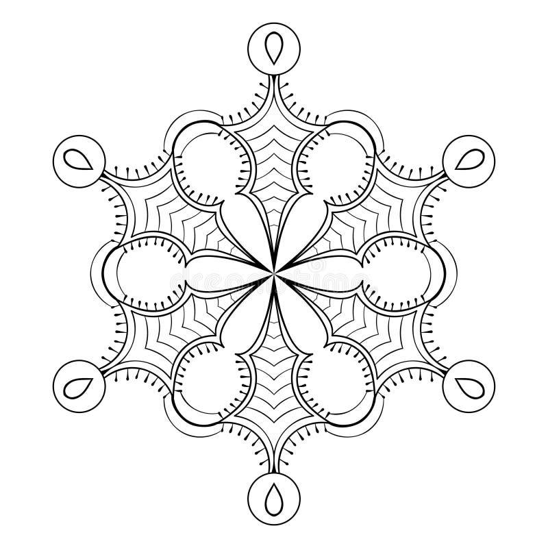 Fiocco nello stile di scarabocchio dello zentangle, mandala nera della neve di vettore per la a royalty illustrazione gratis