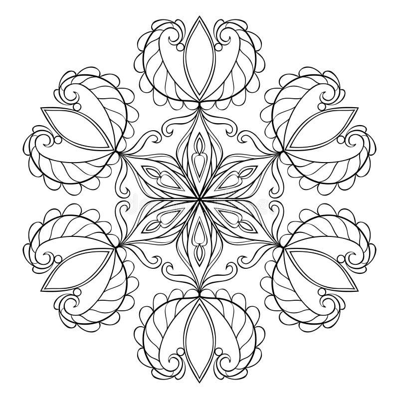 Fiocco nero nello stile di scarabocchio dello zentangle, mandala della neve di vettore per la a illustrazione di stock