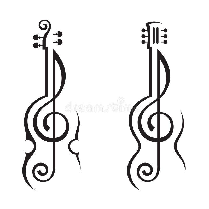 Fiol, gitarr och trebleklav stock illustrationer