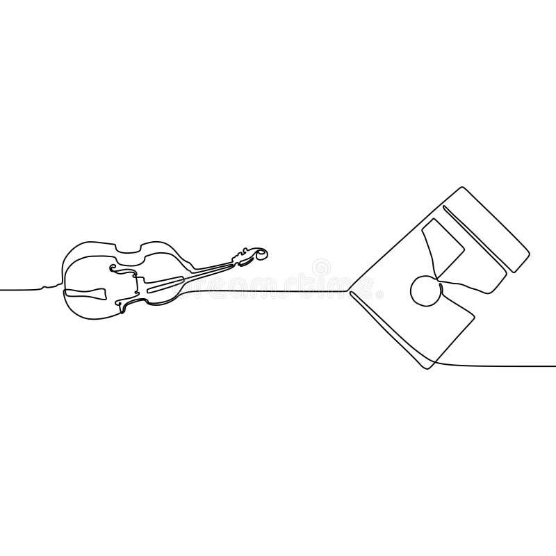 fiol och fyrkantig linje fortlöpande linje traditionell uppsättning för gitarr en för musikinstrumentvektorkontur för musikaffisc royaltyfri illustrationer