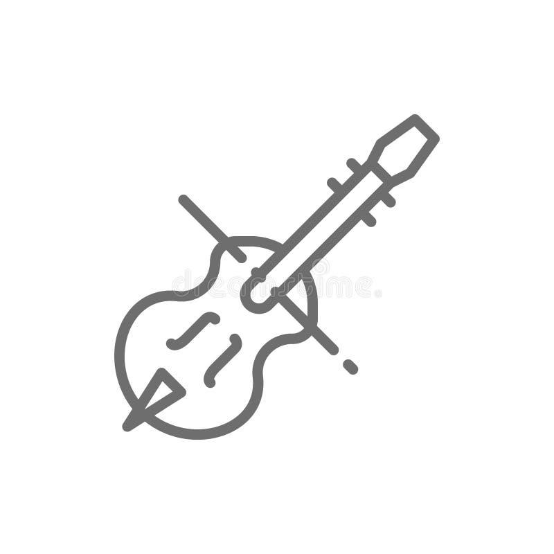 Fiol violoncell, violoncell, radmusikinstrumentlinje symbol stock illustrationer