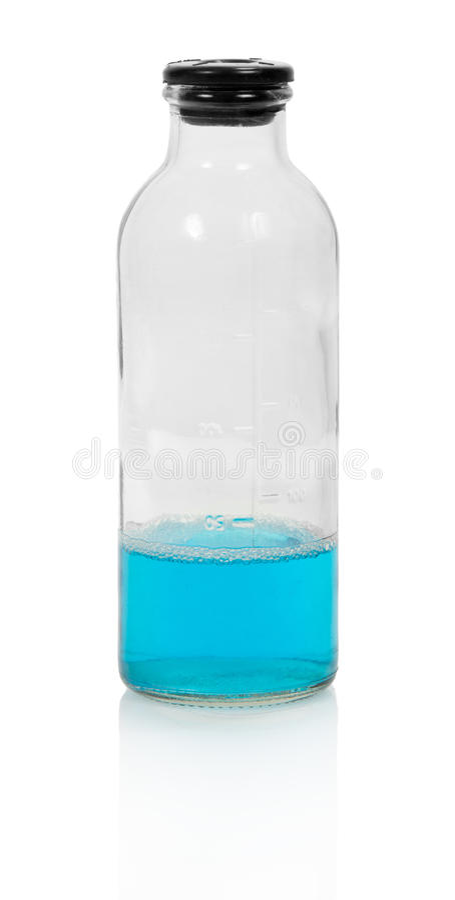 Fiole fermée de liquide chimique bleu photos stock