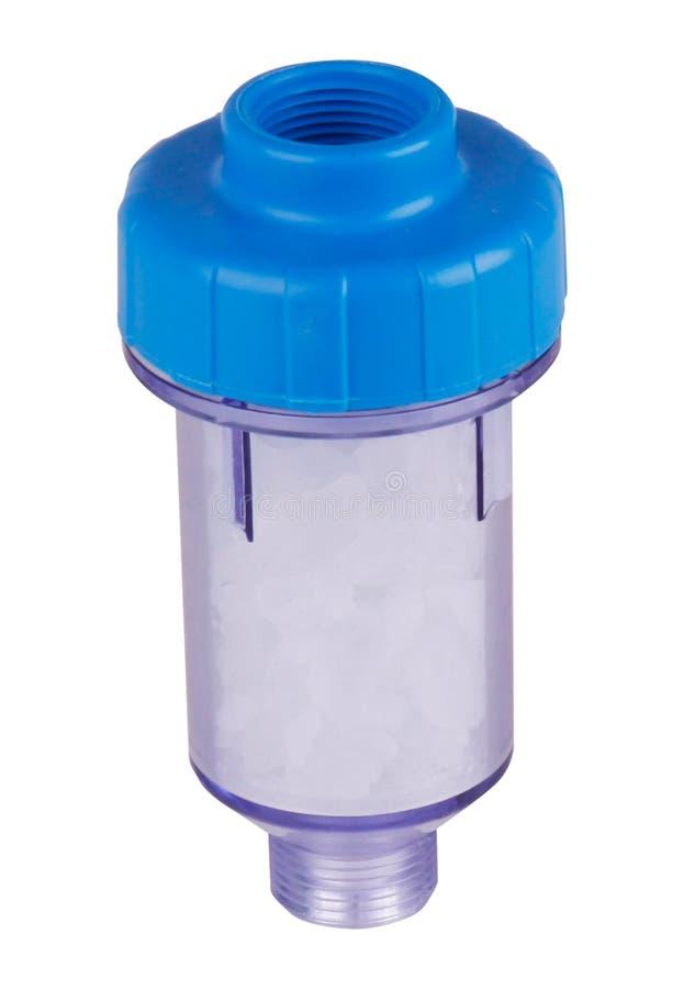 Fiole filtrante transparente, en plastique pour la machine ? laver, purification d'eau D'isolement sur le fond blanc Pour s'am?li photos stock