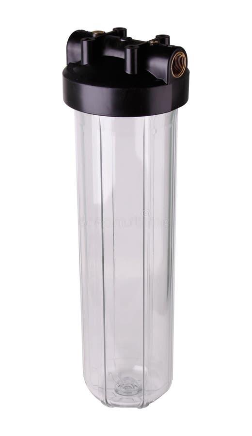Fiole filtrante transparente, en plastique pour la purification d'eau Fond blanc d'isolement Pour am?liorer la qualit? de l'eau d photographie stock libre de droits