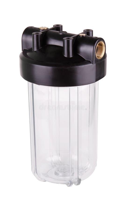 Fiole filtrante transparente, en plastique pour la purification d'eau Fond blanc d'isolement Pour am?liorer la qualit? de l'eau d photo libre de droits