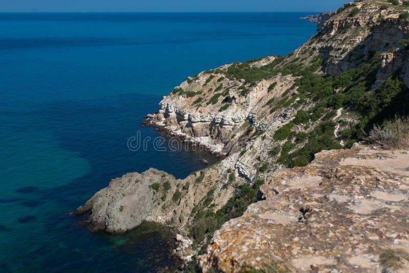 Fiolent海角,黑海岩石海岸  图库摄影