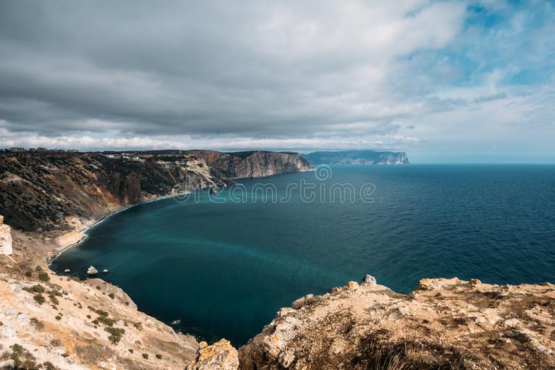 Fiolent cape, Crime nature resort with black sea, high yellow rock cliffs and wild beaches, beautiful seascape panorama.  stock photo