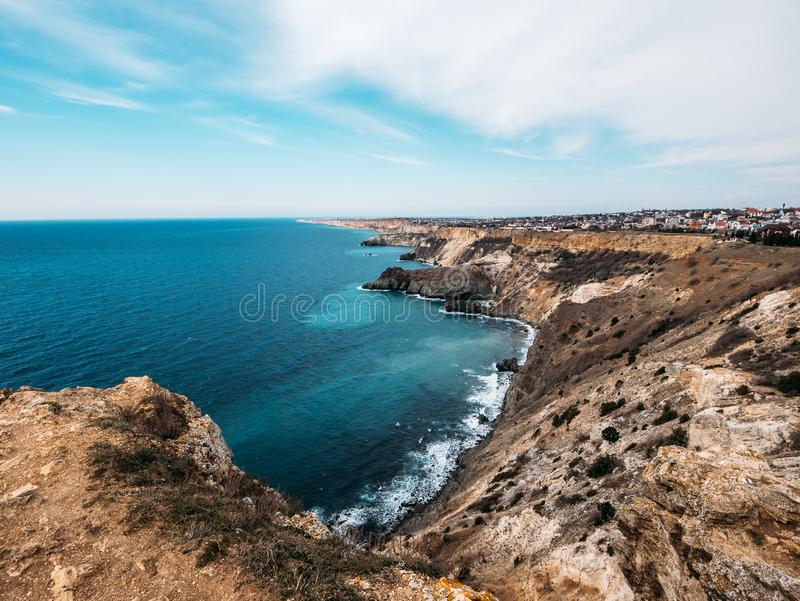 Fiolent cape, Crime nature resort with black sea, high yellow rock cliffs and wild beaches, beautiful seascape panorama.  royalty free stock image
