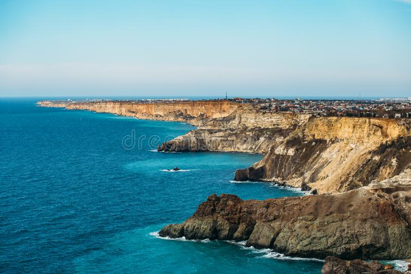 Fiolent cape, Crime nature resort with black sea, high yellow rock cliffs and wild beaches, beautiful seascape panorama.  stock images
