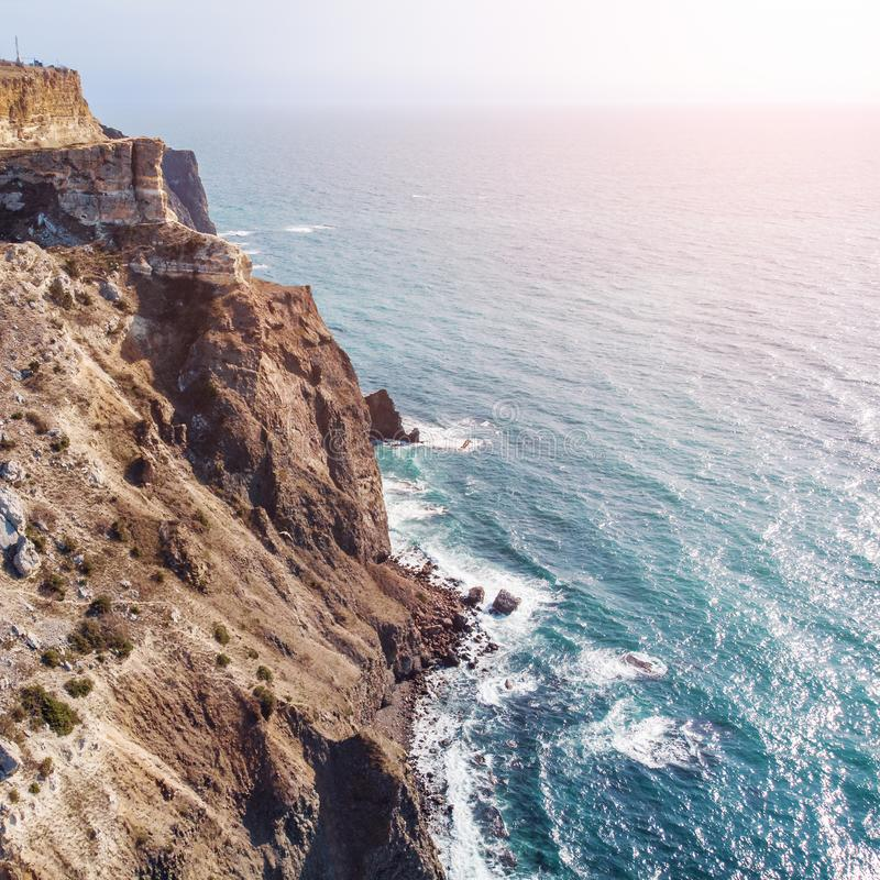 Fiolent cape, Crimea, aerial view from drone above rocky mountains and blue sea, beautiful nature landscape from above. In sunny day royalty free stock photo