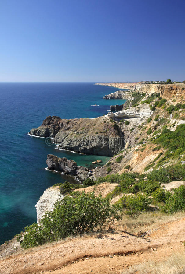 Fiolent cape, Crimea, Ukrainу. Summer view of Black sea coast near Fiolent cape, Crimea, Ukraine royalty free stock photography